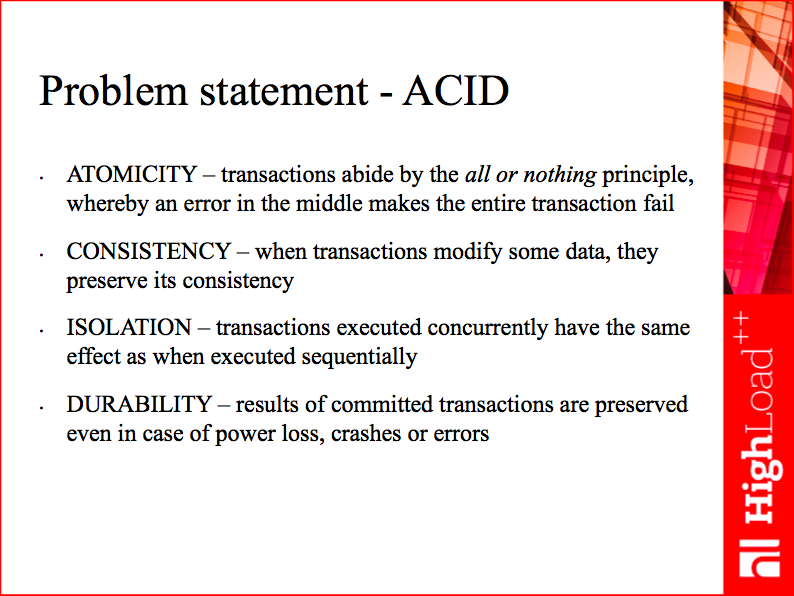 Problem statement - ACID